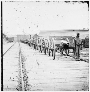 City Point, Virginia. Negro soldier guarding 12-pdr. Napoleon. (Model 1857?). Library of Congress.